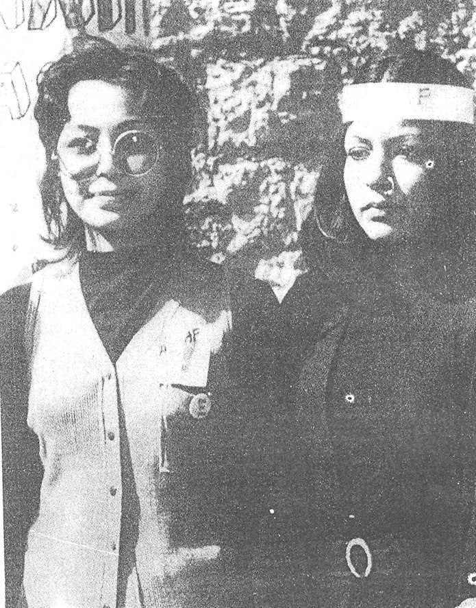Female student supporters of the left-wing National Students Federation (NSF), seen here during the 1972 student union elections at the Karachi University