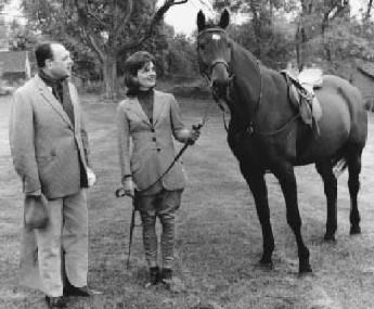Pakistani President Ayub Khan and Jacqueline Kennedy with Sardar (1962)