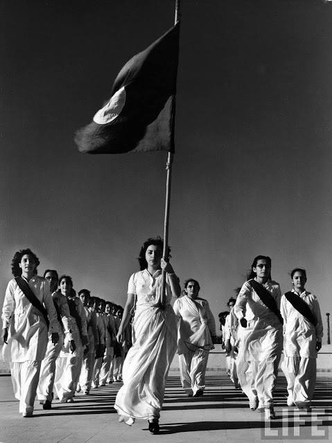 Pakistani member of the Sind Muslim Women's National Guard during marching practice - 1940's